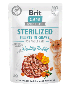 Brit Care Cat Pouches Sterilized Fillets in Gravy with Healthy Rabbit Enriched with Sea Buckthorn and Nasturtium 85g
