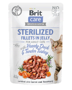 Brit Care Cat Pouch STERILISED Fillets in Jelly with Hearty Duck & Tender Turkey enriched with Carrot & Rosemary 85g