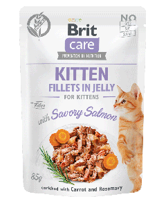 Brit Care Cat Pouch KITTEN Fillets in Jelly with Savory Salmon enriched with Carrot & Rosemary 85g